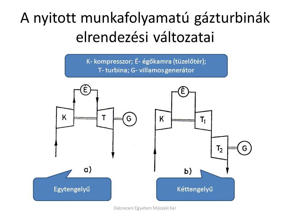 A nyitott munkafolyamatú gázturbinák elrendezési változatai Debreceni Egyetem Műszaki Kar EgytengelyűKéttengelyű K- kompresszor; É- égőkamra (tüzelőté