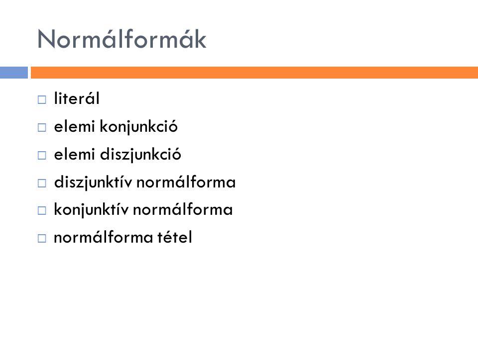 Normálformák  literál  elemi konjunkció  elemi diszjunkció  diszjunktív normálforma  konjunktív normálforma  normálforma tétel