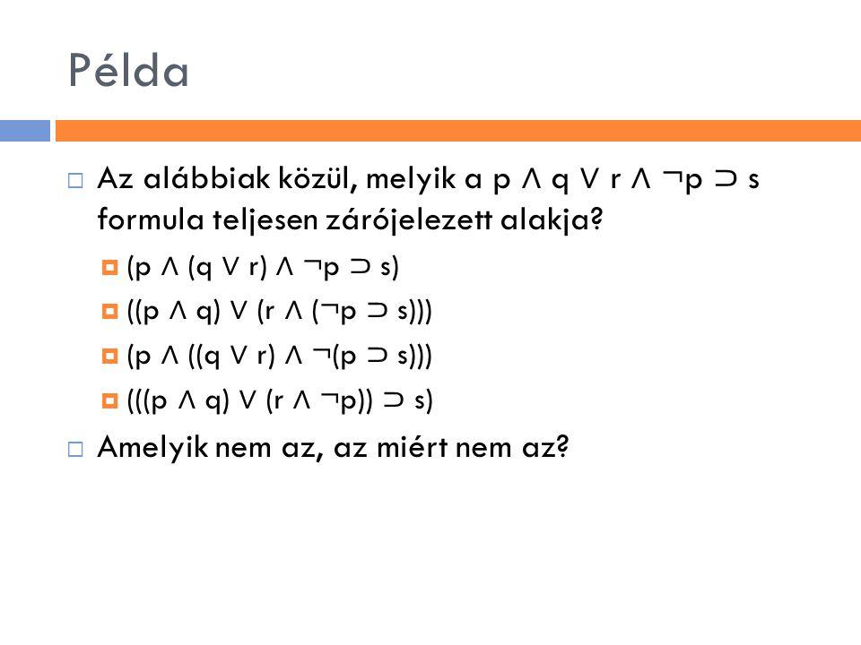 Példa  Az alábbiak közül, melyik a p ∧ q ∨ r ∧ ¬p ⊃ s formula teljesen zárójelezett alakja?  (p ∧ (q ∨ r) ∧ ¬p ⊃ s)  ((p ∧ q) ∨ (r ∧ (¬p ⊃ s)))  (