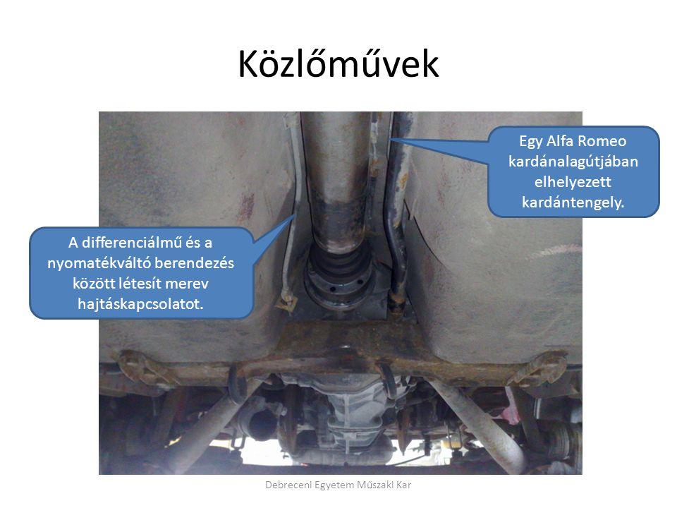 Közlőművek Debreceni Egyetem Műszaki Kar Egy Alfa Romeo kardánalagútjában elhelyezett kardántengely.
