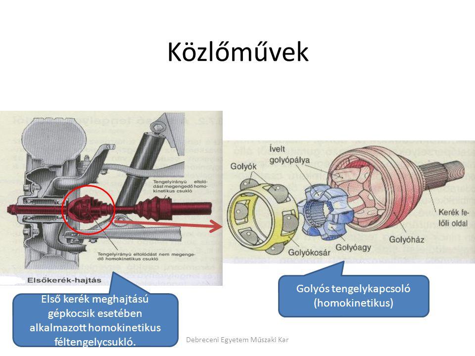 Közlőművek Debreceni Egyetem Műszaki Kar Golyós tengelykapcsoló (homokinetikus) Első kerék meghajtású gépkocsik esetében alkalmazott homokinetikus féltengelycsukló.