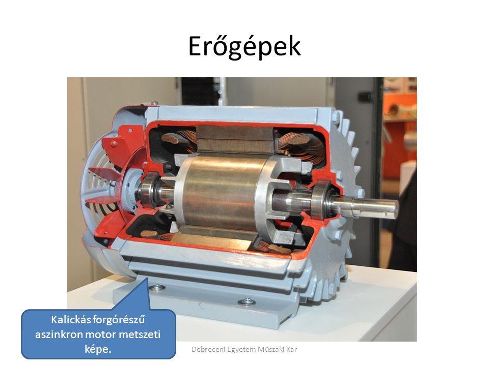 Erőgépek Debreceni Egyetem Műszaki Kar Kalickás forgórészű aszinkron motor metszeti képe.