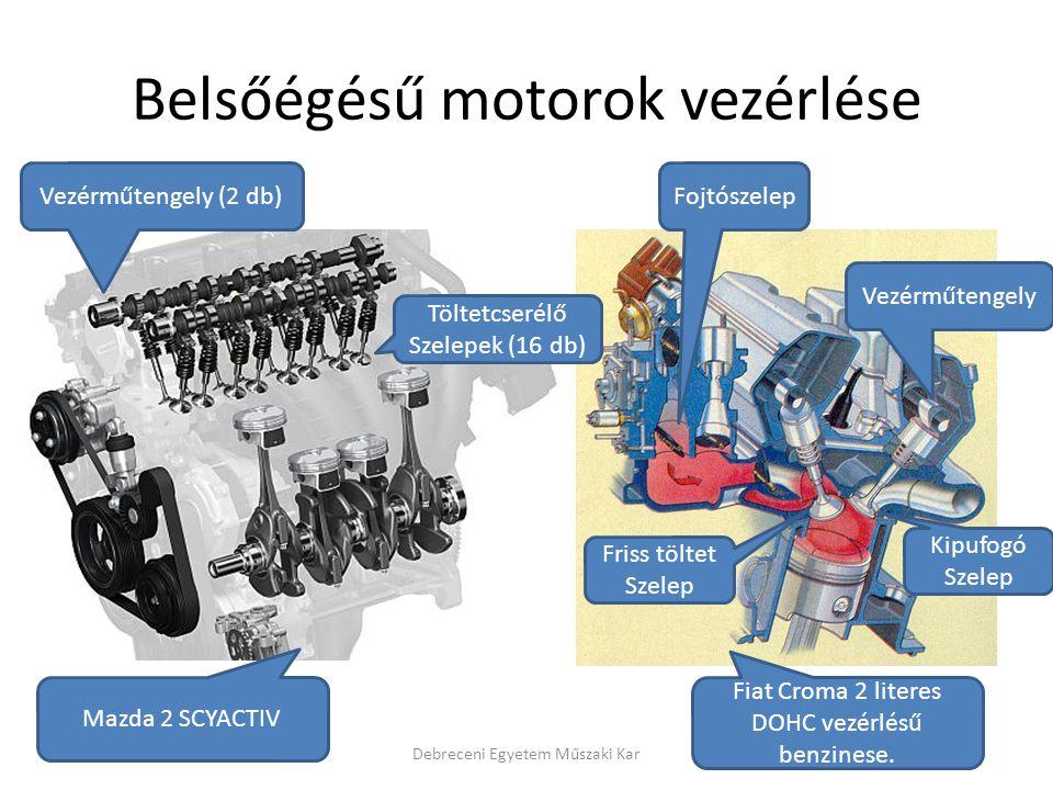 Belsőégésű motorok vezérlése Debreceni Egyetem Műszaki Kar Vezérműtengely (2 db) Töltetcserélő Szelepek (16 db) Vezérműtengely Friss töltet Szelep Fojtószelep Kipufogó Szelep Mazda 2 SCYACTIV Fiat Croma 2 literes DOHC vezérlésű benzinese.