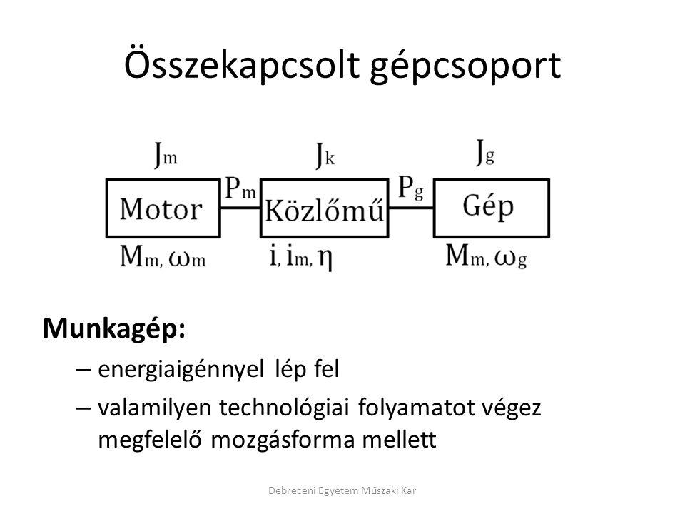 Összekapcsolt gépcsoport Munkagép: – energiaigénnyel lép fel – valamilyen technológiai folyamatot végez megfelelő mozgásforma mellett Debreceni Egyetem Műszaki Kar