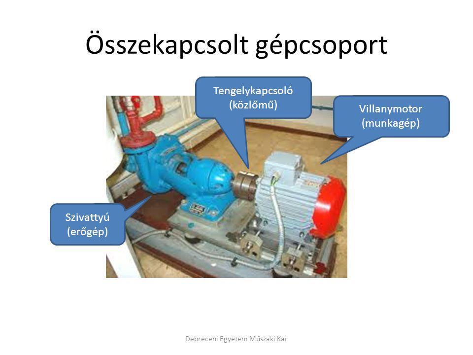 Összekapcsolt gépcsoport Debreceni Egyetem Műszaki Kar Villanymotor (munkagép) Szivattyú (erőgép) Tengelykapcsoló (közlőmű)