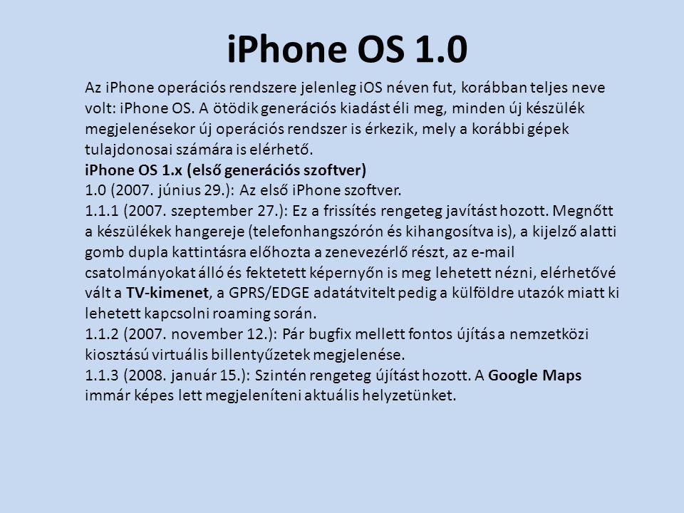 iPhone OS 2.x Az iPhone 3G megjelenésével együtt került ki az iPhone OS 2.0-s változata, mely tonnányi fejlesztést hozott.