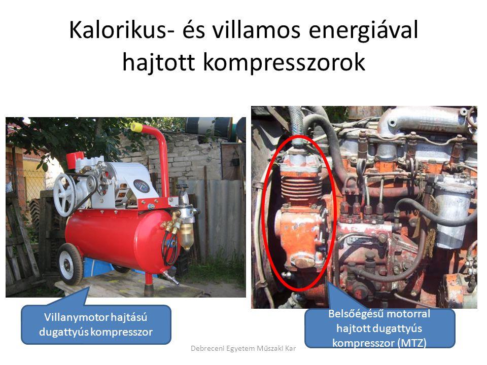 Kalorikus- és villamos energiával hajtott kompresszorok Debreceni Egyetem Műszaki Kar Villanymotor hajtású dugattyús kompresszor Belsőégésű motorral hajtott dugattyús kompresszor (MTZ)