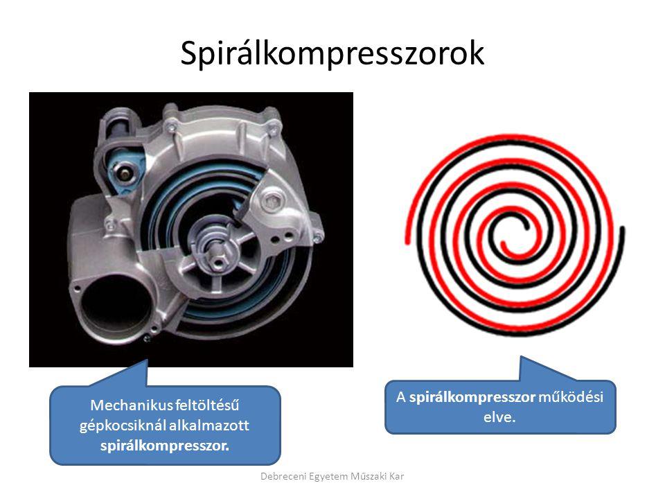 Debreceni Egyetem Műszaki Kar Mechanikus feltöltésű gépkocsiknál alkalmazott spirálkompresszor.