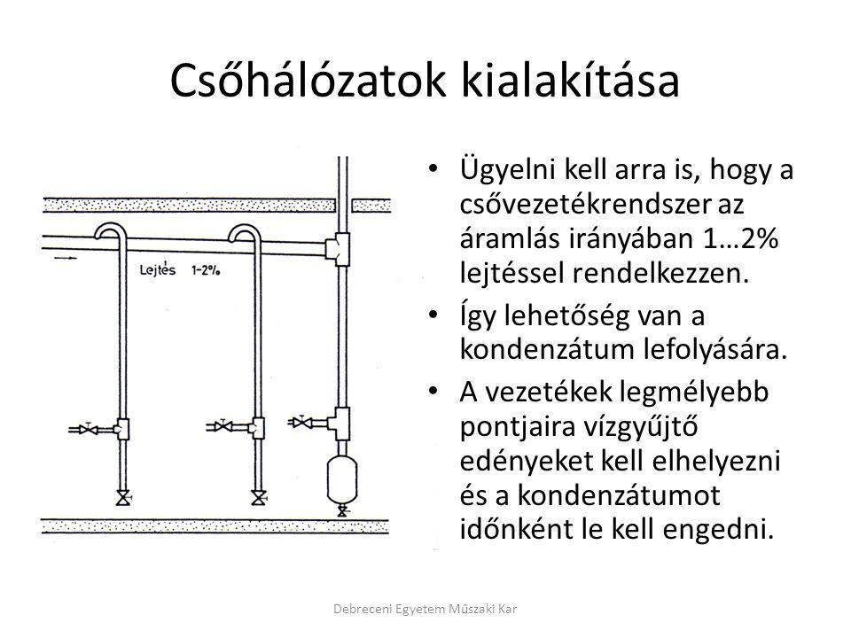 Csőhálózatok kialakítása Ügyelni kell arra is, hogy a csővezetékrendszer az áramlás irányában 1…2% lejtéssel rendelkezzen.