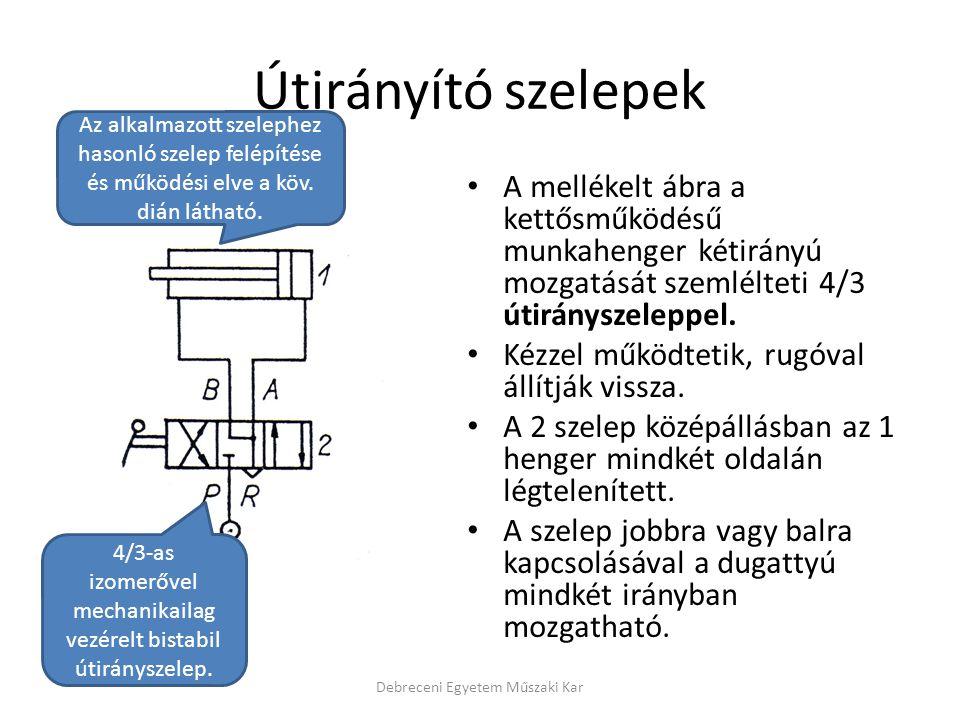 Útirányító szelepek A mellékelt ábra a kettősműködésű munkahenger kétirányú mozgatását szemlélteti 4/3 útirányszeleppel.