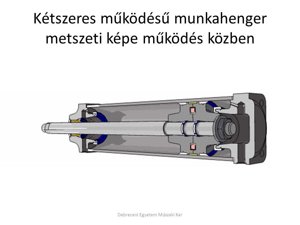 Kétszeres működésű munkahenger metszeti képe működés közben Debreceni Egyetem Műszaki Kar