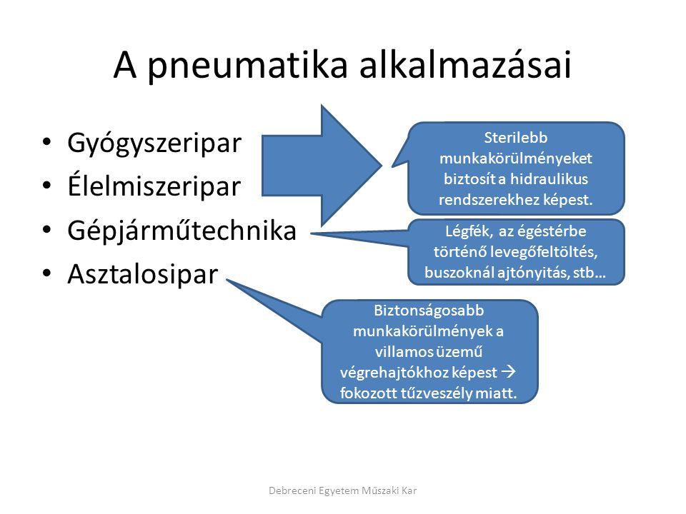 A pneumatika alkalmazásai Gyógyszeripar Élelmiszeripar Gépjárműtechnika Asztalosipar Debreceni Egyetem Műszaki Kar Sterilebb munkakörülményeket biztosít a hidraulikus rendszerekhez képest.