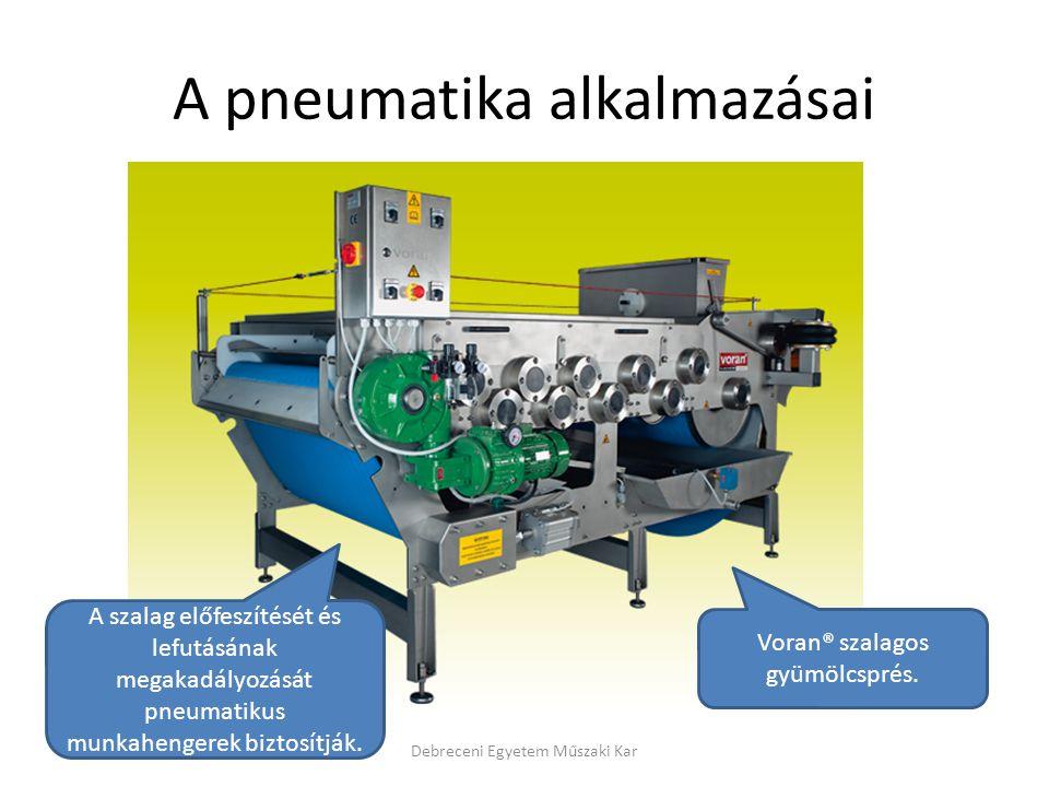 A pneumatika alkalmazásai Debreceni Egyetem Műszaki Kar Voran® szalagos gyümölcsprés.