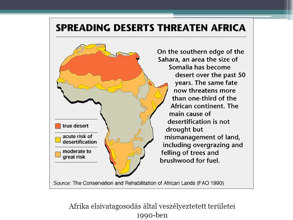 Afrika elsivatagosodás által veszélyeztetett területei 1990-ben