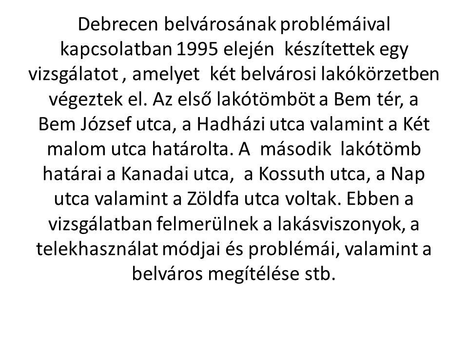 Debrecen belvárosának problémáival kapcsolatban 1995 elején készítettek egy vizsgálatot, amelyet két belvárosi lakókörzetben végeztek el. Az első lakó