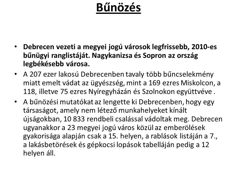 Bűnözés Debrecen vezeti a megyei jogú városok legfrissebb, 2010-es bűnügyi ranglistáját. Nagykanizsa és Sopron az ország legbékésebb városa. A 207 eze