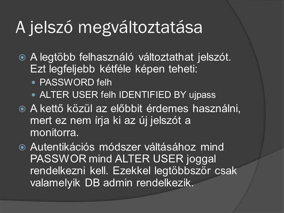 A jelszó megváltoztatása  A legtöbb felhasználó változtathat jelszót.