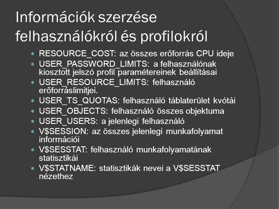 Információk szerzése felhasználókról és profilokról RESOURCE_COST: az összes erőforrás CPU ideje USER_PASSWORD_LIMITS: a felhasználónak kiosztott jelszó profil paramétereinek beállításai USER_RESOURCE_LIMITS: felhasználó erőforráslimitjei.