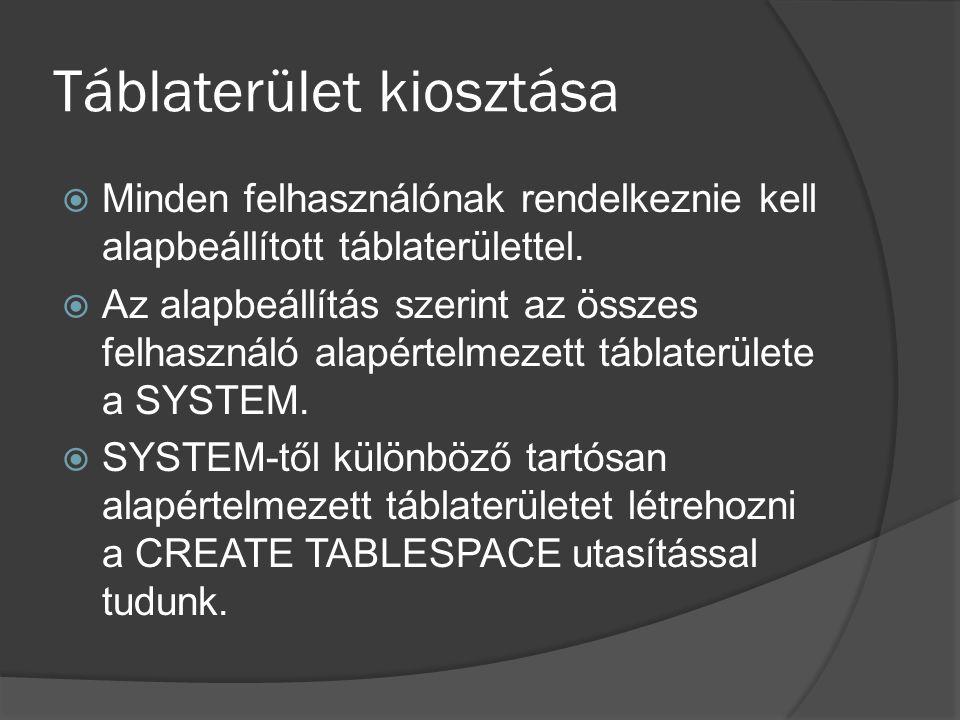 Táblaterület kiosztása  Tartósan alapértelmezett táblaterület nem törölhető.