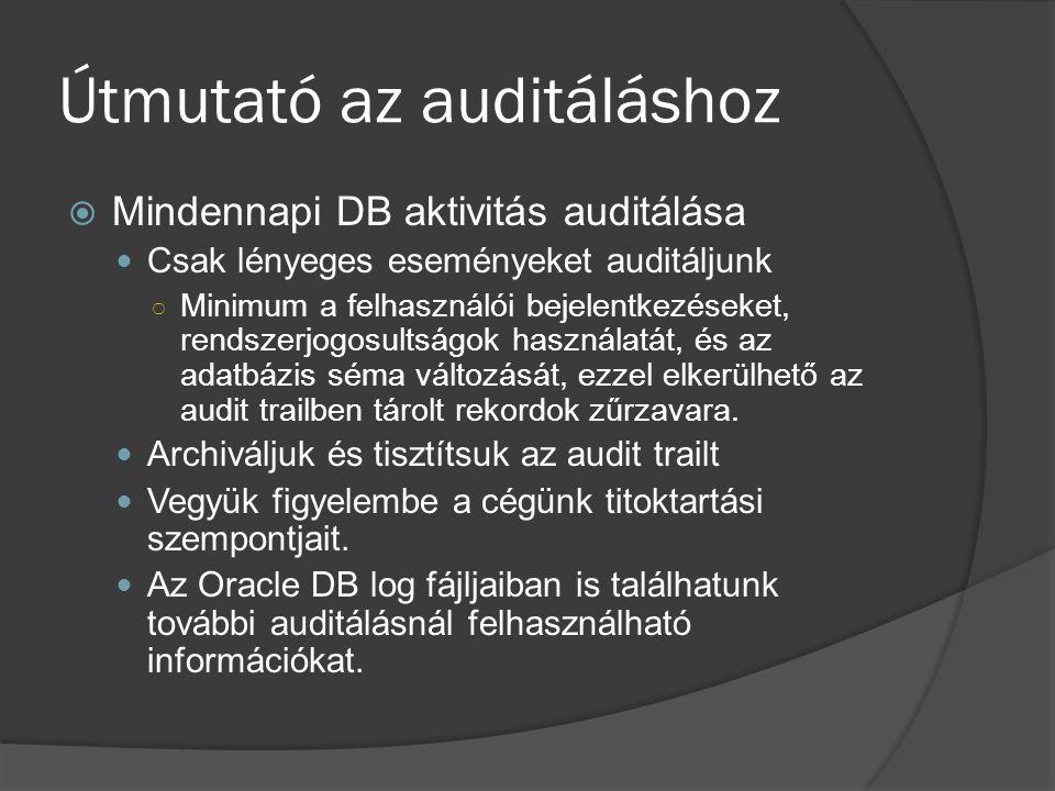 Útmutató az auditáláshoz  Mindennapi DB aktivitás auditálása Csak lényeges eseményeket auditáljunk ○ Minimum a felhasználói bejelentkezéseket, rendszerjogosultságok használatát, és az adatbázis séma változását, ezzel elkerülhető az audit trailben tárolt rekordok zűrzavara.