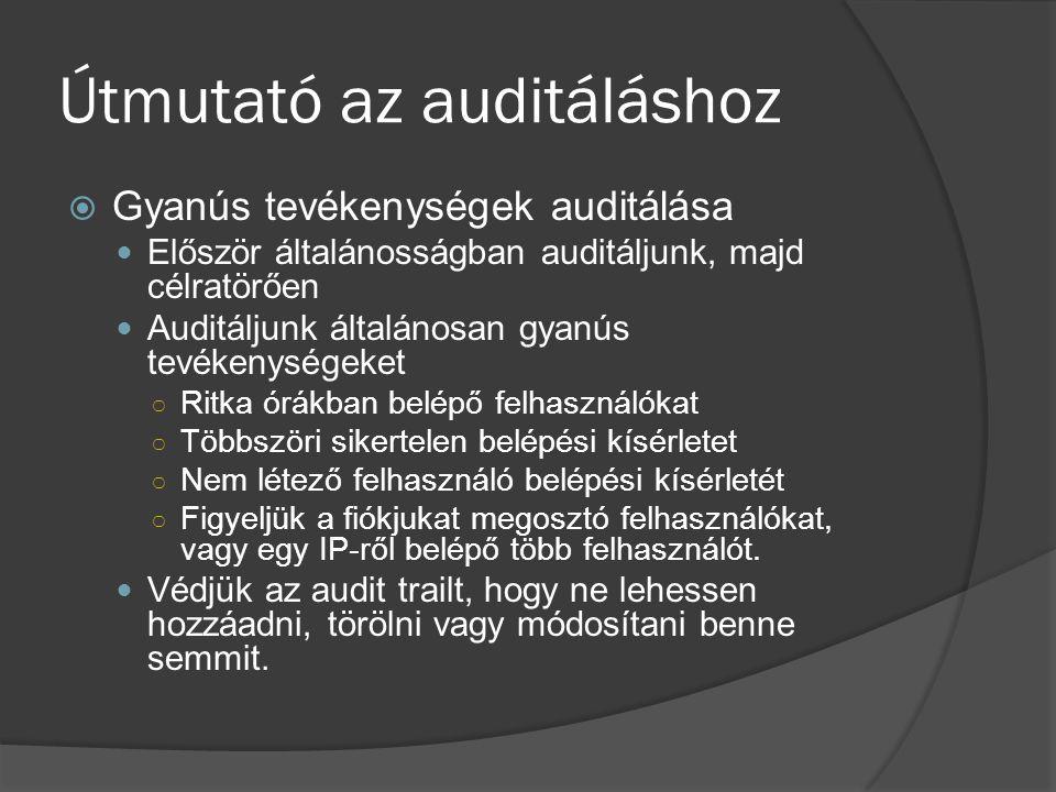 Útmutató az auditáláshoz  Gyanús tevékenységek auditálása Először általánosságban auditáljunk, majd célratörően Auditáljunk általánosan gyanús tevéke