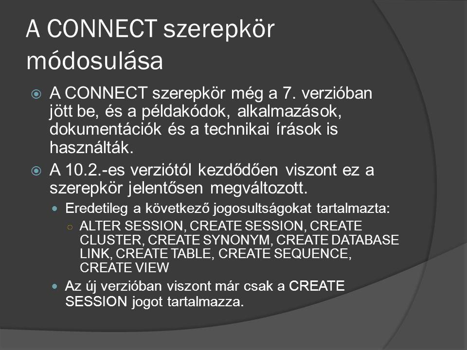 A CONNECT szerepkör módosulása  A CONNECT szerepkör még a 7. verzióban jött be, és a példakódok, alkalmazások, dokumentációk és a technikai írások is