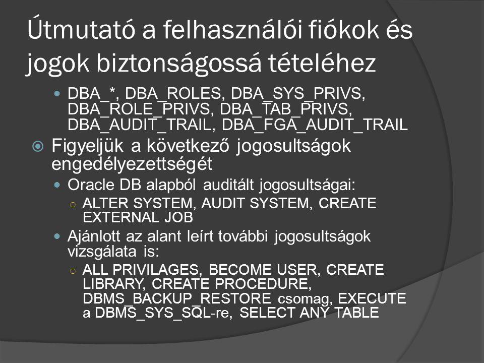 Útmutató a felhasználói fiókok és jogok biztonságossá tételéhez DBA_*, DBA_ROLES, DBA_SYS_PRIVS, DBA_ROLE_PRIVS, DBA_TAB_PRIVS, DBA_AUDIT_TRAIL, DBA_F