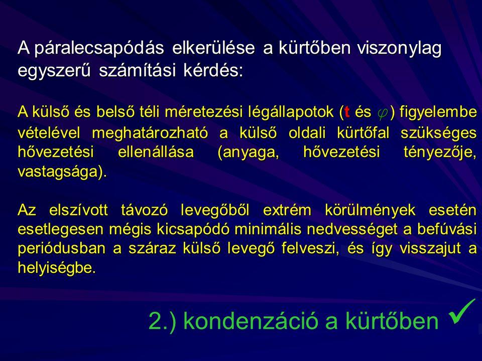 2.) kondenzáció a kürtőben A páralecsapódás elkerülése a kürtőben viszonylag egyszerű számítási kérdés: A külső és belső téli méretezési légállapotok (t és f ) figyelembe vételével meghatározható a külső oldali kürtőfal szükséges hővezetési ellenállása (anyaga, hővezetési tényezője, vastagsága).