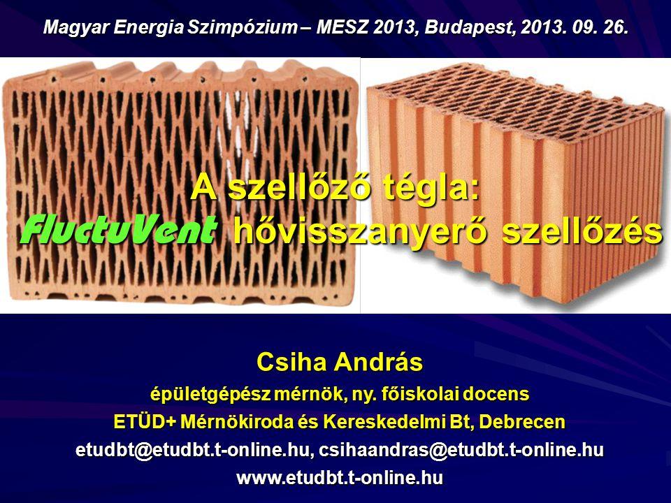 A szellőző tégla: FluctuVent hővisszanyerő szellőzés Csiha András épületgépész mérnök, ny.