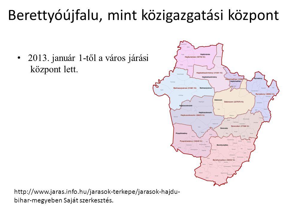 Berettyóújfalu, mint közigazgatási központ 2013. január 1-től a város járási központ lett. http://www.jaras.info.hu/jarasok-terkepe/jarasok-hajdu- bih