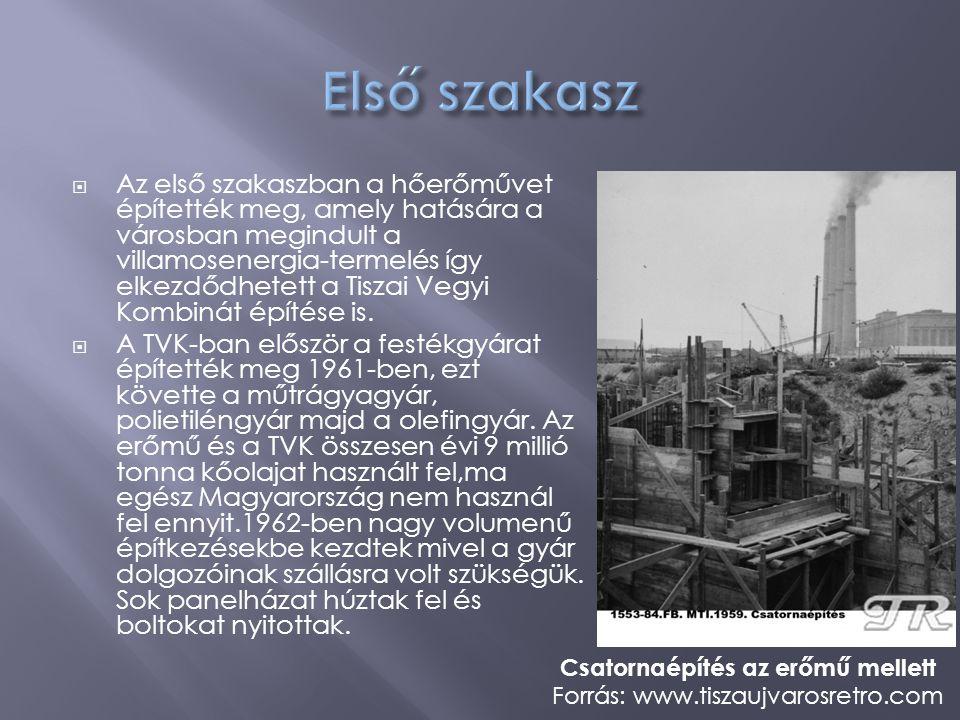  Az első szakaszban a hőerőművet építették meg, amely hatására a városban megindult a villamosenergia-termelés így elkezdődhetett a Tiszai Vegyi Komb