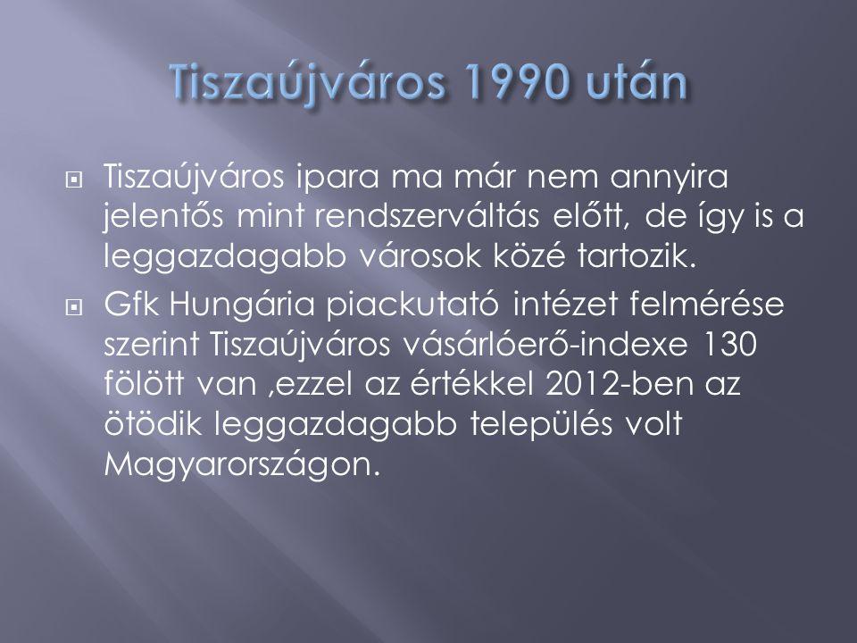  Tiszaújváros ipara ma már nem annyira jelentős mint rendszerváltás előtt, de így is a leggazdagabb városok közé tartozik.  Gfk Hungária piackutató