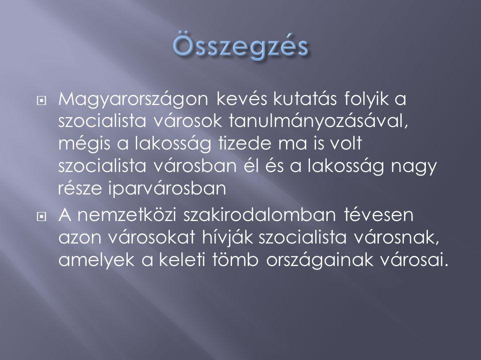  Magyarországon kevés kutatás folyik a szocialista városok tanulmányozásával, mégis a lakosság tizede ma is volt szocialista városban él és a lakossá