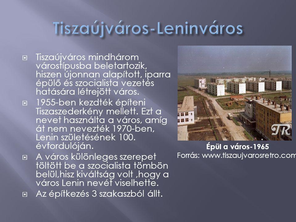  Tiszaújváros mindhárom várostípusba beletartozik, hiszen újonnan alapított, iparra épülő és szocialista vezetés hatására létrejött város.  1955-ben
