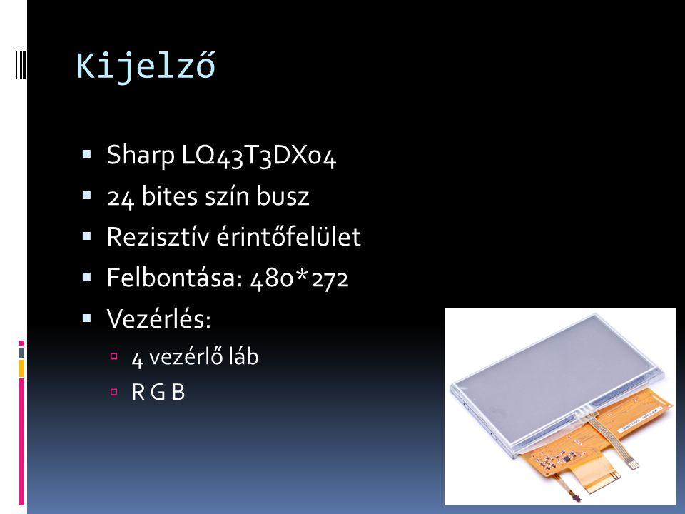 Kijelző  Sharp LQ43T3DX04  24 bites szín busz  Rezisztív érintőfelület  Felbontása: 480*272  Vezérlés:  4 vezérlő láb  R G B