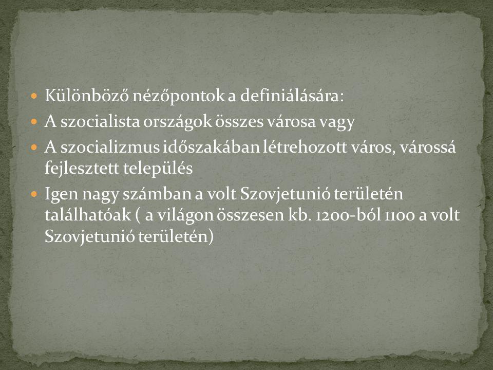Különböző nézőpontok a definiálására: A szocialista országok összes városa vagy A szocializmus időszakában létrehozott város, várossá fejlesztett település Igen nagy számban a volt Szovjetunió területén találhatóak ( a világon összesen kb.