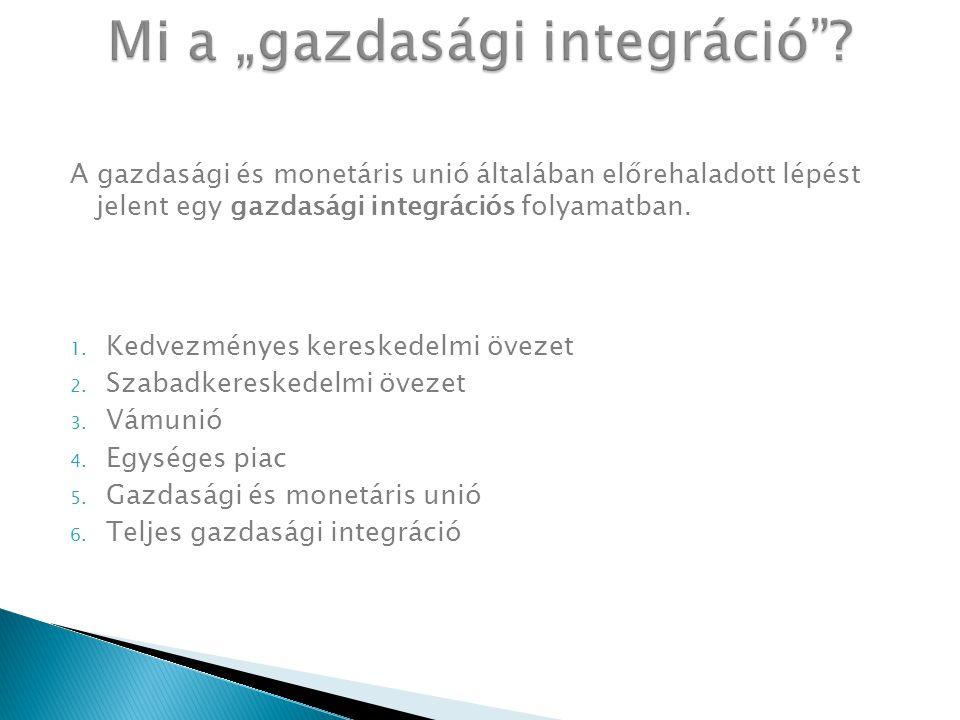 A gazdasági és monetáris unió általában előrehaladott lépést jelent egy gazdasági integrációs folyamatban.