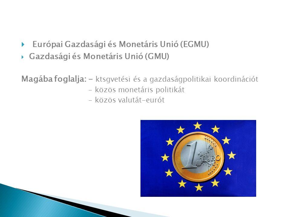  Európai Gazdasági és Monetáris Unió (EGMU)  Gazdasági és Monetáris Unió (GMU) Magába foglalja: - ktsgvetési és a gazdaságpolitikai koordinációt - közös monetáris politikát - közös valutát-eurót