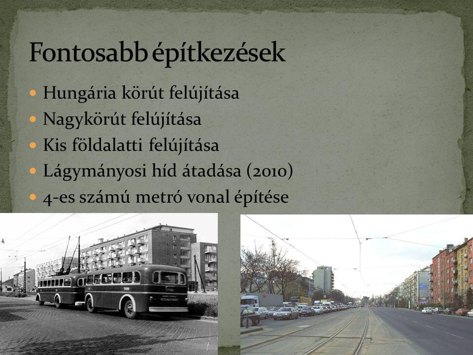 Hungária körút felújítása Nagykörút felújítása Kis földalatti felújítása Lágymányosi híd átadása (2010) 4-es számú metró vonal építése