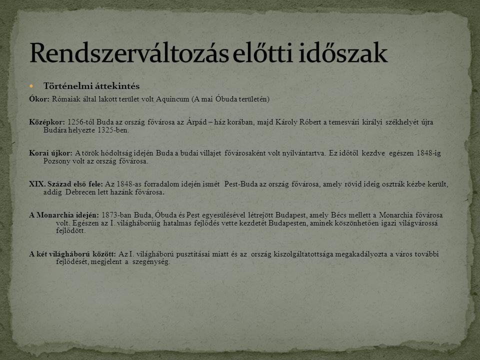 Történelmi áttekintés Ókor: Rómaiak által lakott terület volt Aquincum (A mai Óbuda területén) Középkor: 1256-tól Buda az ország fővárosa az Árpád – h