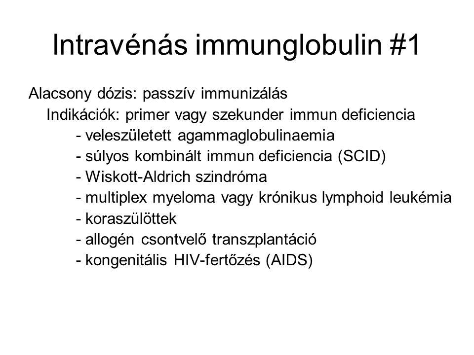 Intravénás immunglobulin #1 Alacsony dózis: passzív immunizálás Indikációk: primer vagy szekunder immun deficiencia - veleszületett agammaglobulinaemia - súlyos kombinált immun deficiencia (SCID) - Wiskott-Aldrich szindróma - multiplex myeloma vagy krónikus lymphoid leukémia - koraszülöttek - allogén csontvelő transzplantáció - kongenitális HIV-fertőzés (AIDS)