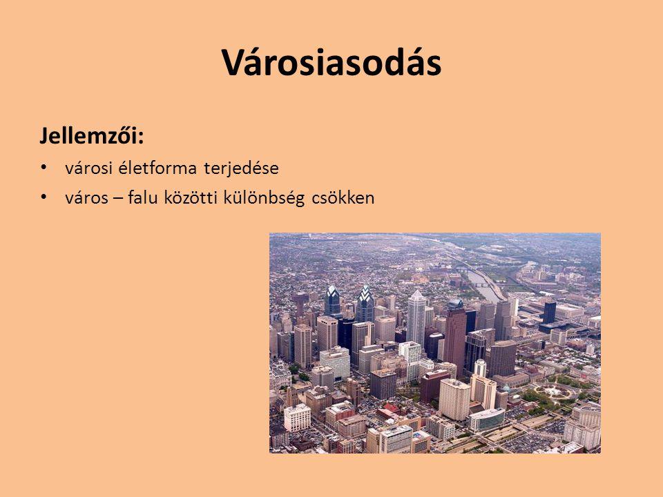 Városrobbanás Fejlett országok Ipari forradalom után Jól fejlett Egyenletes eloszlású városhálózat Fejlődő országok Utóbbi 30 évben Falusi térségek túlnépesedése Munkahelyek hiánya Óriásvárosok kialakulása, peremükön bádogváros