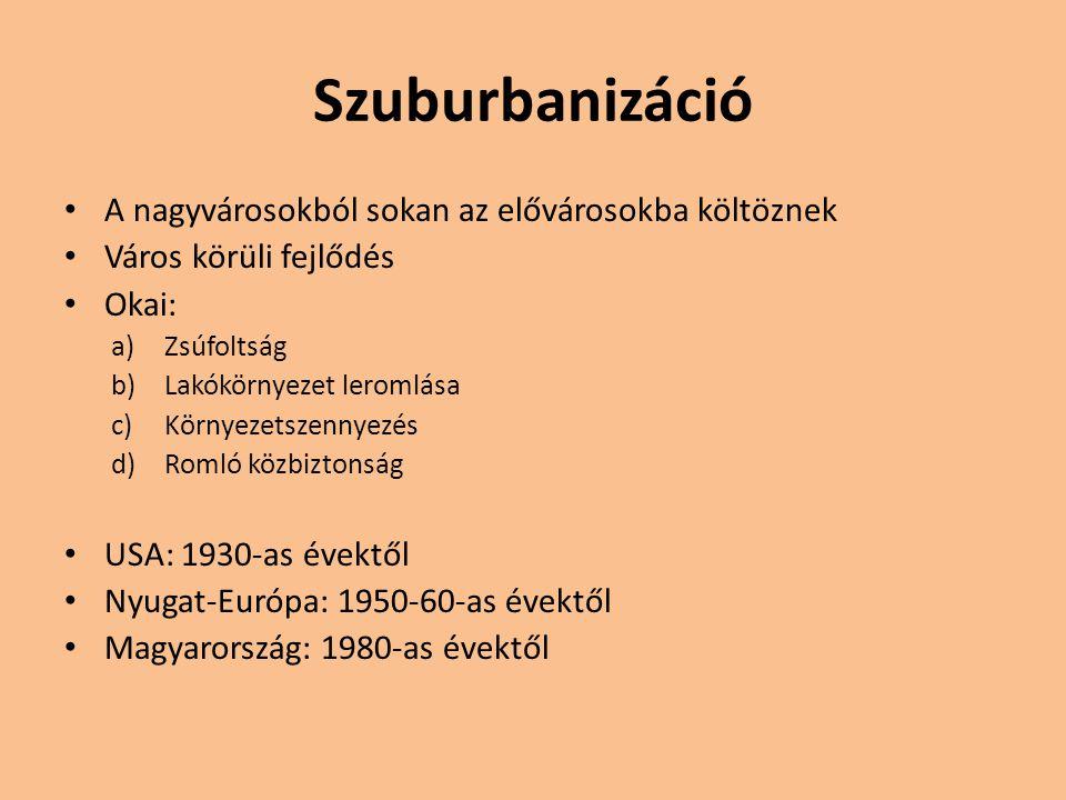 Dezurbanizáció A nagyváros és elővárosainak népessége is csökken Okai: a)Falusi térségek gyors városiasodása b)Javuló közlekedési és telekommunikációs feltételek A legfejlettebb országok: 1970-es évektől