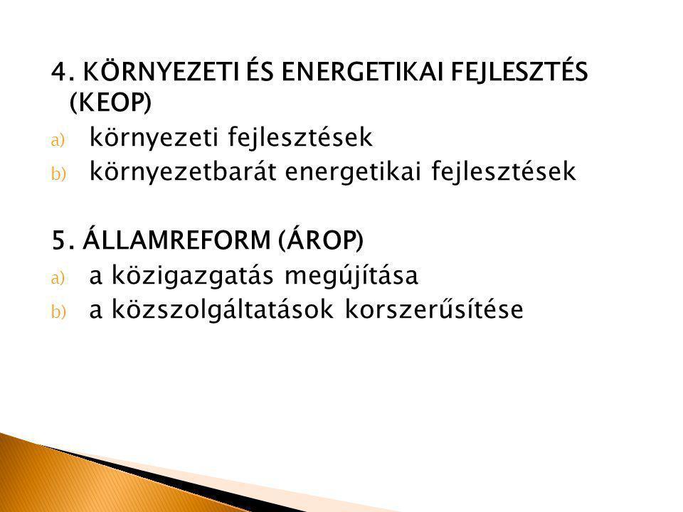 4. KÖRNYEZETI ÉS ENERGETIKAI FEJLESZTÉS (KEOP) a) környezeti fejlesztések b) környezetbarát energetikai fejlesztések 5. ÁLLAMREFORM (ÁROP) a) a köziga