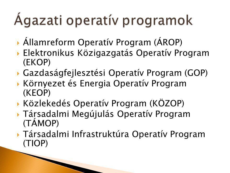  Államreform Operatív Program (ÁROP)  Elektronikus Közigazgatás Operatív Program (EKOP)  Gazdaságfejlesztési Operatív Program (GOP)  Környezet és Energia Operatív Program (KEOP)  Közlekedés Operatív Program (KÖZOP)  Társadalmi Megújulás Operatív Program (TÁMOP)  Társadalmi Infrastruktúra Operatív Program (TIOP)