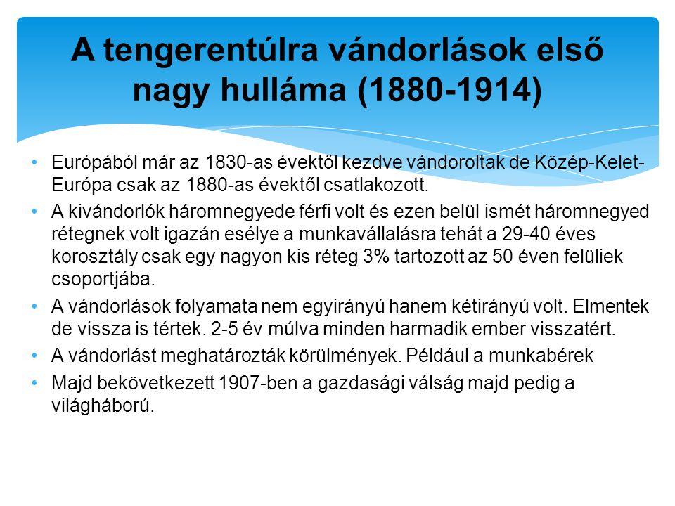 Európából már az 1830-as évektől kezdve vándoroltak de Közép-Kelet- Európa csak az 1880-as évektől csatlakozott. A kivándorlók háromnegyede férfi volt