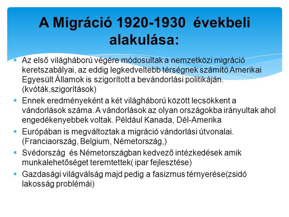  Az első világháború végére módosultak a nemzetközi migráció keretszabályai, az eddig legkedveltebb térségnek számító Amerikai Egyesült Államok is sz