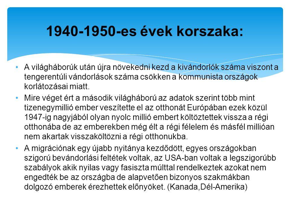 Etnikumok1899-19241925-19431944-19521899-1952 lengyel1 483 37432 877178 6401 694 691 szlovák536 91119 3244 261560 496 magyar492 03113 35622 670528 057 horvát-szlovén485 3798 85118 356512 616 cseh159 31912 38719 367191 334 román148 2514 0427 748160 041 Közép-Kelet-Európai bevándorlók az Egyesült Államokban 1899-1952 (Forrás: Regio - Kisebbségtudományi Szemle 1991.