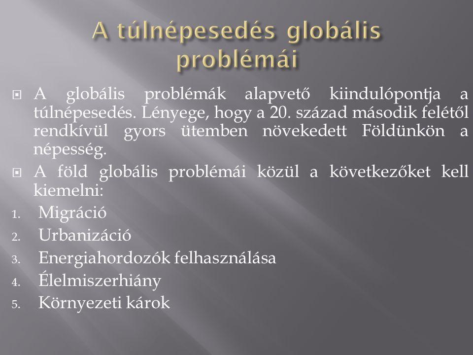  A globális problémák alapvető kiindulópontja a túlnépesedés. Lényege, hogy a 20. század második felétől rendkívül gyors ütemben növekedett Földünkön