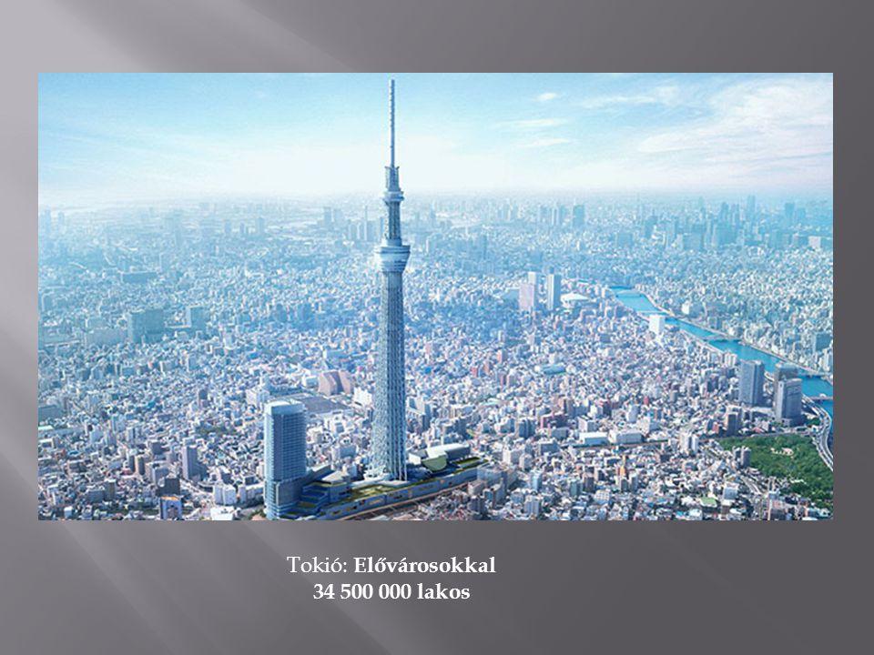 Tokió: Elővárosokkal 34 500 000 lakos